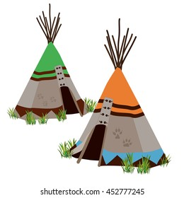 Tipi, traditional dwelling by Indigenous people of the Great Plains and Canadian Prairies of North America. Stylized vector illustration