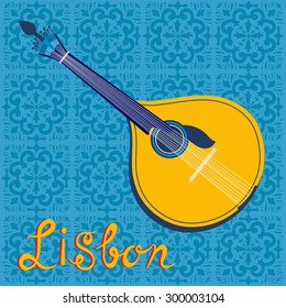 Tipical portuguese fado guitar over Lisbon map and azulejo tiles background. vector illustration