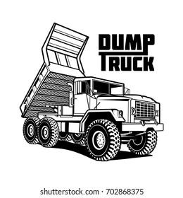 tipper dump truck illustration isolated on white