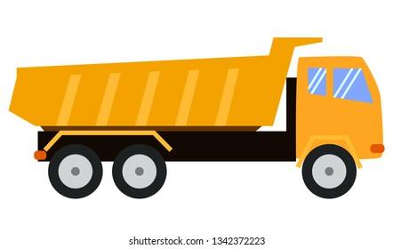 Tipper Truck. Dump truck. Cartoon style, childlike illustration, toy