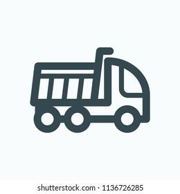 Tipper truck icon, dumper truck vector icon