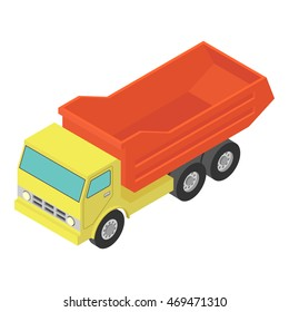 Tipper truck isometric on white