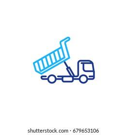 Tipper truck unloading, mono line icon, load transportation vector