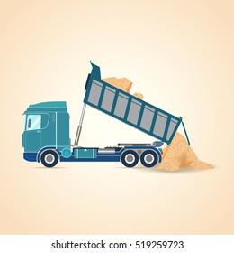 Tipper unloading. Vector illustration