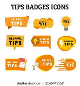 tips badges icons  on white background