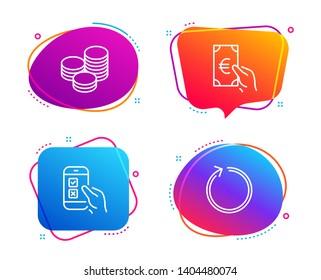 Tips, Finance and Mobile survey icons simple set. Loop sign. Cash coins, Eur cash, Phone quiz test. Refresh. Business set. Speech bubble tips icon. Colorful banners design set. Vector