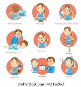 Tips for Living With Chronic Pain.Cartoon vector illustration
