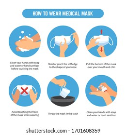 Tips on how to wear and remove medical masks. Step by step infographic illustration of how to wear and how to remove a surgical mask to reduce the spread of germs and viruses. Coronavirus epidemic