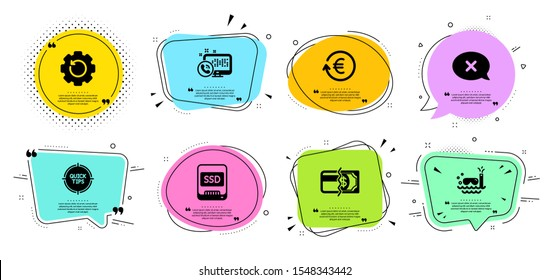 Tips, Scuba diving and Payment methods line icons set. Chat bubbles with quotes. Exchange currency, Reject and Ssd signs. Web call, Recovery gear symbols. Quick tricks, Trip swimming. Vector