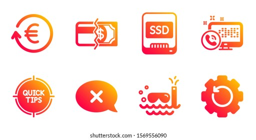 Tips, Scuba diving and Payment methods line icons set. Exchange currency, Reject and Ssd signs. Web call, Recovery gear symbols. Quick tricks, Trip swimming. Business set. Vector