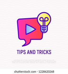 Tips and tricks thin line icon. Video with interesting and helpful ideas: speech bubble with play button and light bulb. Modern vector illustration for logo.