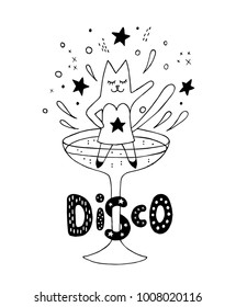 Tipsy cat party girl dancing disco in the cocktail glass and having fun. Abstract isolated design element. Hand drawn vector black and white illustrations. Cartoon, doodle.