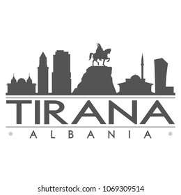 Tirana Albania Skyline Silhouette Design City Vector Art Famous Buildings