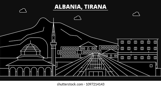Tirana silhouette skyline. Albania - Tirana vector city, albanian linear architecture, buildings. Tirana travel illustration, outline landmarks. Albania flat icons, albanian line banner