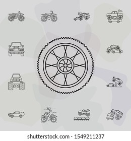 Tire of bigfoot car icon. Bigfoot car icons universal set for web and mobile