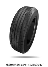 Tire car. 3D illustration of car tire isolated on white background. Car wheel. Black rubber wheel. Realistic vector.
