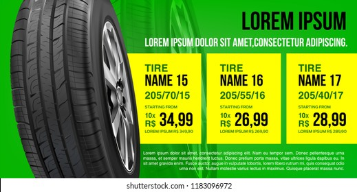 Tire car advertisement discount poster. Mock-up. 3D illustration of car tire. Wheel. Black rubber tire. Realistic vector wheel. Banner. Promo. Information. Store. Sale.