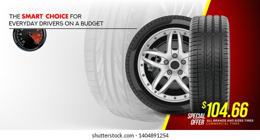 Tire car advertisement poster. 3D illustration of car tire. Wheel. Black rubber tire. Realistic vector shining disk car wheel tyre. Aluminum wheel. Banner. Promo. Information. Store. Banner. Action.