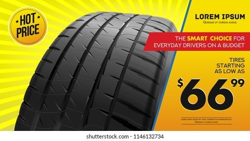 Tire car advertisement poster. Black rubber tire. Realistic vector. Information. Store. Action.Landscape poster, digital banner, flyer, booklet, brochure and web design. Yellow. Sale.