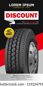 Tire car advertisement poster. Black rubber tire. Realistic vector shining disk car wheel tyre. Information. Store. Action.Web poster, digital banner, flyer, booklet, brochure and web design.