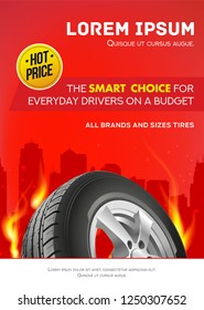 Tire car advertisement poster. Black rubber tire. Realistic vector. Information. Store. Action. Poster, digital, flyer, booklet, brochure and web design. Red. Sale. Business banner.