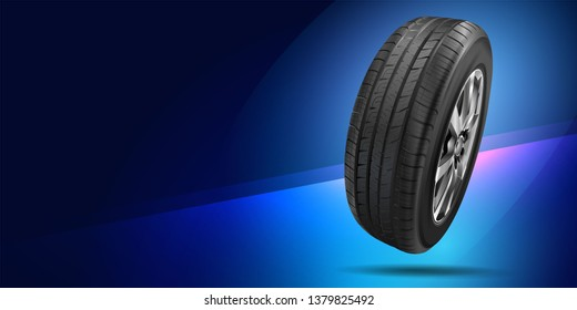 Tire car advertisement poster. Black rubber tire. Realistic vector. Information. Store. Action. Landscape poster, digital banner, flyer, booklet, brochure and web design. Sale. Background.
