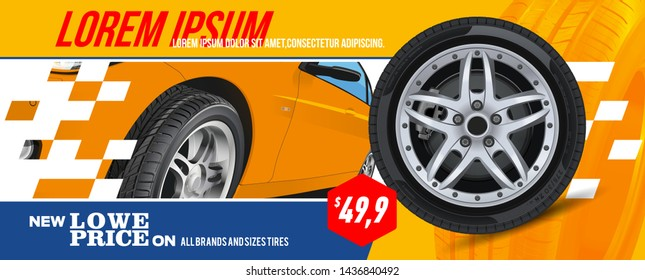 Tire car advertisement poster. Black rubber tyre. Realistic vector. Information. Store. Action.Landscape poster, digital banner, flyer, booklet, brochure and web design. Yellow. Sale.