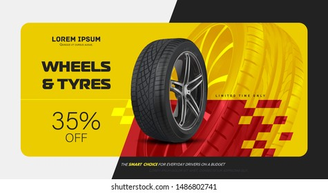Tire car advertisement poster. Black rubber tyre. Realistic vector shining disk car wheel tyre. Information. Store. Action. Landscape poster, digital banner, flyer, booklet, brochure and web design.
