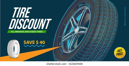 Tire car advertisement poster. Black friday. Realistic vector shining disk car wheel tyre. Information. Store. Action.Landscape poster, digital banner, flyer, booklet, brochure and web design. Sport.