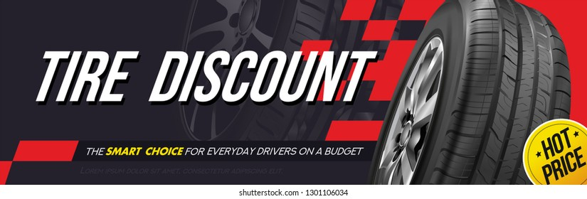 Tire car advertisement poster. Information. Store. Action. Landscape poster. Digital banner. Flyer. Booklet. Brochure. Web design.