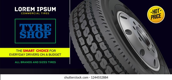 Tire car advertisement poster. Marketing. Website. Realistic vector shining disk car wheel tyre.