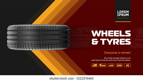Tire car advertisement poster. Car tire and track traces. Vector illustration dirty grunge. 3D illustration wheel. Black rubber tire.  Banner. Promo. Information. Store. Action. Car Service. Repair.