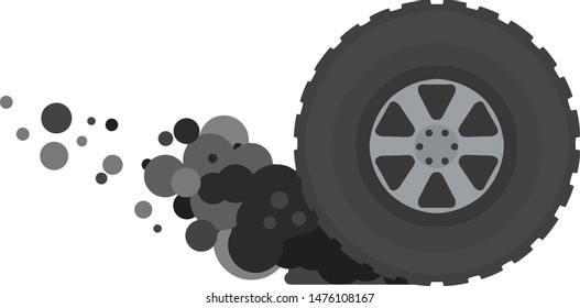 Tire of car. Gray smoke from wheel. Speed and racing. Cartoon flat illustration