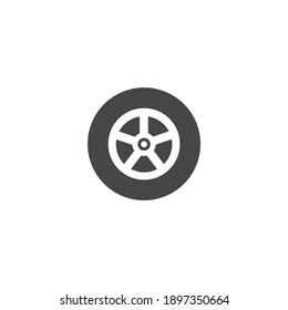 Tire Car Icon Black and White Vector Graphic