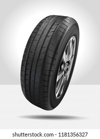 Tire car icons. 3D illustration of car tire isolated on white background. Car wheel. Black rubber tire. Realistic vector shining disk car wheel tyre. Aluminum wheels.