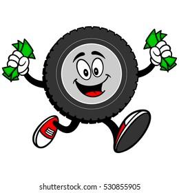 Tire Cartoon Running with Money