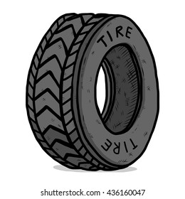 tire / cartoon vector and illustration, hand drawn style, isolated on white background.