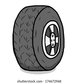 tire / cartoon vector and illustration, isolated on white background.