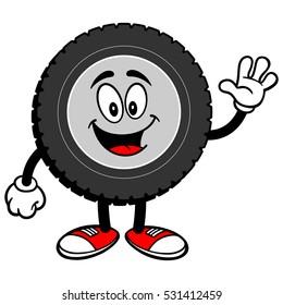 Tire Cartoon Waving