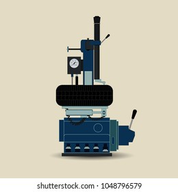 Tire fitting equipment for cars. Equipment for car repair. Vector illustration of tire fitting equipment. It is executed in the minimal color scale in a flat style.