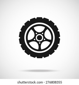 Tire icon. Black vector icon. Modern car wheel concept.