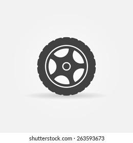 Tire icon or logo - vector black transportation symbol