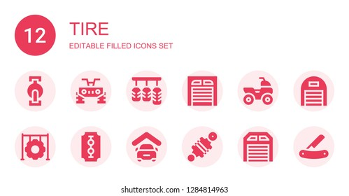 tire icon set. Collection of 12 filled tire icons included Pedal, Quad, Pedals, Garage, Tire, Blade, Damper