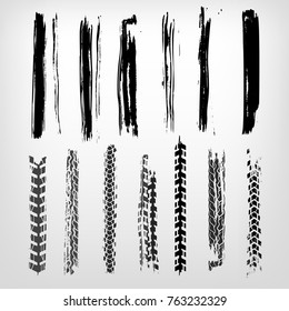 Tire imprints, paint, ink brush strokes, brushes, mud lines and scratches. Dirty artistic design elements. Editable vector illustration. Grunge elements set.