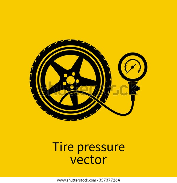 Tire Pressure Gauge Icon Checking Tire Stock Vector Royalty Free