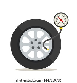 Tire pressure gauge, manometer. Vector illustration, flat design, cartoon style. Isolated on white background. Side view.
