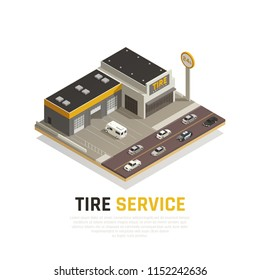 Tire production service isometric background composition with images of cars and tyre shop building vector illustration
