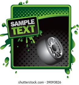tire rotated on green and black halftone banner