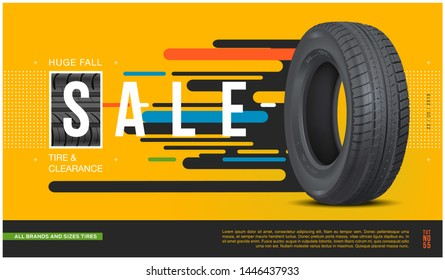 Tire sale flyer. Realistic vector car rubber. Promo action. Banner car tire. Web design. Shop coupon, discount. Promo. Information. Print advertisement poster.
