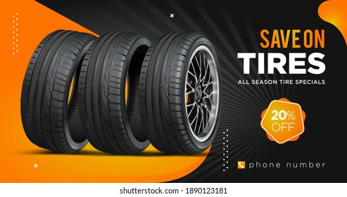 Tire sale out banner template. Grunge tire tracks background for landscape poster, digital banner, flyer, leaflet design. Disc on wheel in process of new tire replacement.